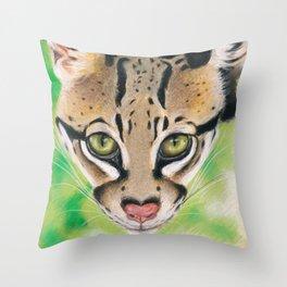 Ocelot Wild Cat Soft Pastel Art Throw Pillow
