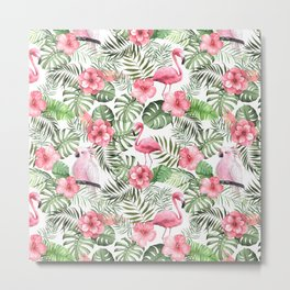 Watercolor Tropical Leaves Flowers Flamingo Cockatoo Metal Print