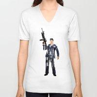 montana V-neck T-shirts featuring Tony Montana by Ayse Deniz
