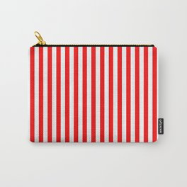 Original Berry Red and White Rustic Vertical Tent Stripes Carry-All Pouch