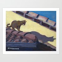 Cat on Hot Tin Roof Art Print