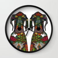 great dane Wall Clocks featuring Great Dane love white by Sharon Turner