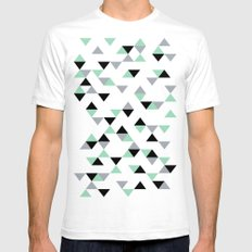 Triangles Mint Grey SMALL Mens Fitted Tee White