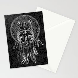 White Owl Dreamcatcher Aztec Pattern Stationery Cards