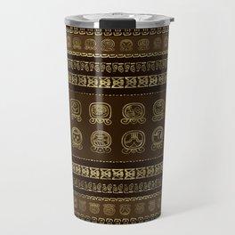 Maya Calendar Glyphs Gold on brown Travel Mug