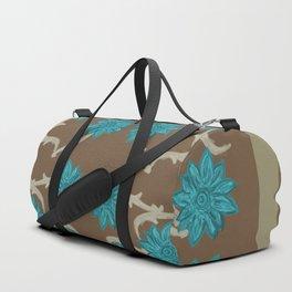 Turquoise Flowers Duffle Bag