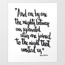 Neruda's nights Art Print