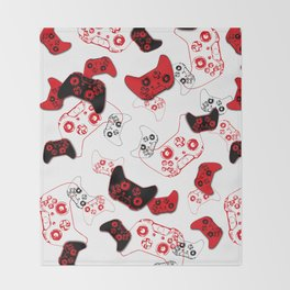 Video Game White and Red Throw Blanket