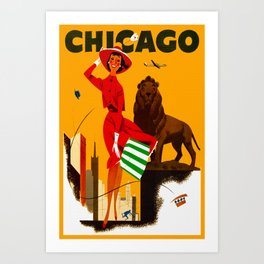 Vintage Chicago Illinois Travel Art Print