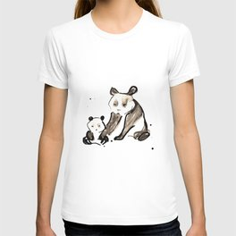 Mother and Baby Black Ink Panda Bears Illustration T-shirt