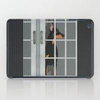 doberman iPad Cases featuring Guard Dog Doberman Pinscher by Aquamarine Studio