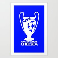 chelsea fc Art Prints featuring Champions League Chelsea by Sport_Designs