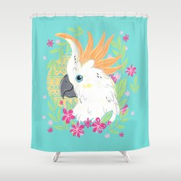 Citron Crested Cockatoo Shower Curtain