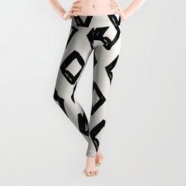 Modern Diamond Pattern Black on Light Gray Leggings