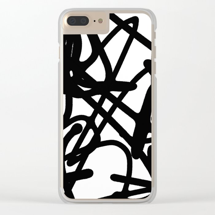 Meaningless - Black and white expressive painting Clear iPhone Case