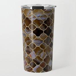 Quatrefoil Moroccan Pattern Brown Agate Travel Mug