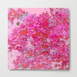 Abstract Pink Blossoms & Orange Accents Spring Art Metal Print