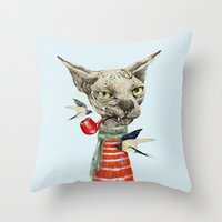 sphynx Throw Pillows featuring Sphynx cat by dogooder