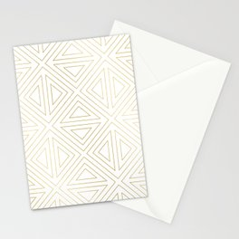 Angled White Gold Stationery Cards