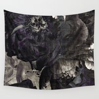 pastel goth Wall Tapestries featuring goth peony by inourgardentoo