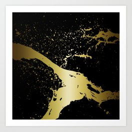 GRUNGE SPLASH | black gold Art Print