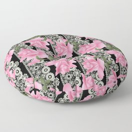 Gentle roses on a lace background. Floor Pillow