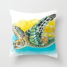 Sea Turtle Yellow Teal Watercolor Throw Pillow