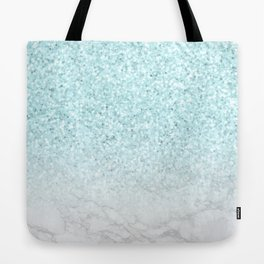 Turquoise Glitter and Marble Tote Bag