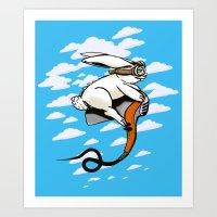 Hare Dryer Flyer Art Print
