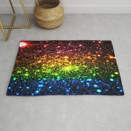 Rainbow Sparkle Galaxy Stars Rug