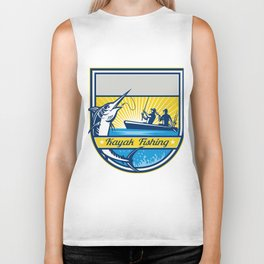 Kayak Fishing Blue Marlin Badge Biker Tank