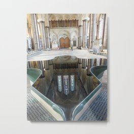 Salisbury Cathedral Fountain Metal Print