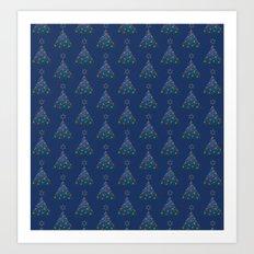 Christmas Trees Pattern Art Print