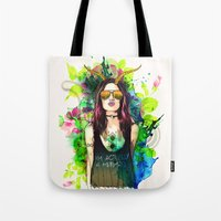 capricorn Tote Bags featuring Capricorn by Sara Eshak
