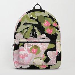Peonies on Black Backpack