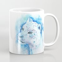 snow leopard Mugs featuring Snow Leopard by Georgia Roberts