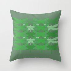 green dragonflies Throw Pillow