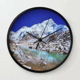 Mount Nuptse view and Mountain landscape view in Sagarmatha National Park, Nepal Himalaya. Wall Clock