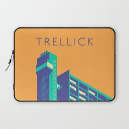 Trellick Tower London Brutalist Architecture - Text Apricot Laptop Sleeve