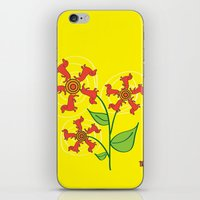daschund iPhone & iPod Skins featuring Doxie Flower by WhyitsmeDesign