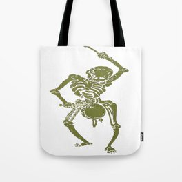 A Zombie Undead Skeleton Marching and Beating A Drum Tote Bag