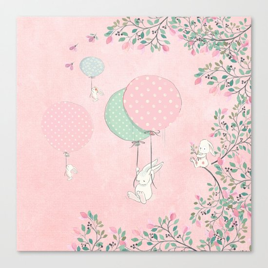 Cute flying Bunny with Balloon and Flower Rabbit Animal on pink floral backround Canvas Print