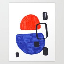 Mid Century Modern Abstract Minimalist Art Colorful Shapes Vintage Retro Style Orange Blue Shapes Art Print