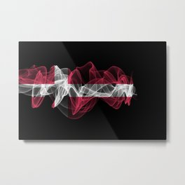 Denmark Smoke Flag on Black Background, Denmark flag Metal Print