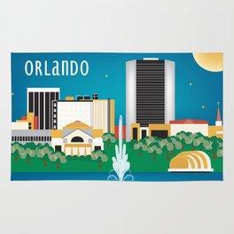 Orlando, Florida - Skyline Illustration by Loose Petals Rug