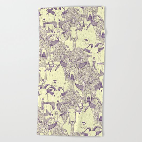 just goats purple cream Beach Towel