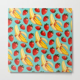 Strawberry Banana Pattern Metal Print