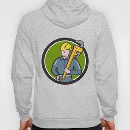 Plumber Holding Wrench Circle Cartoon Hoody