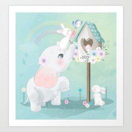 Baby Girl Elephant Birdhouse Rabbit Watercolor Art Print