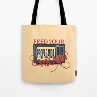 propaganda Tote Bags featuring Propaganda 1 by Patterns of Life